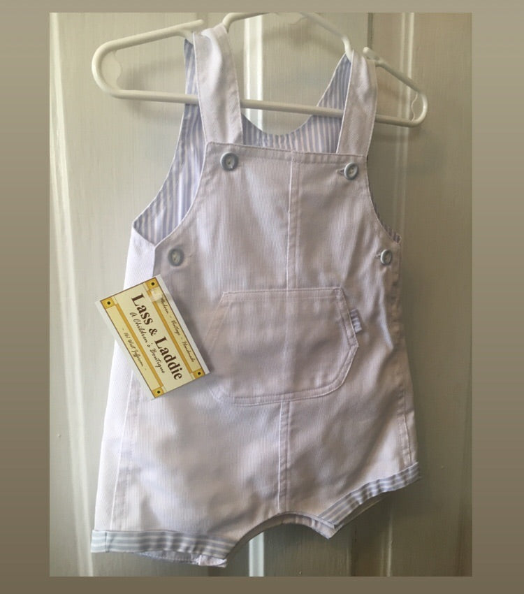 Baby Boy white overall shortall 6m