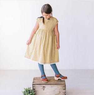 Girl yellow gingham dress