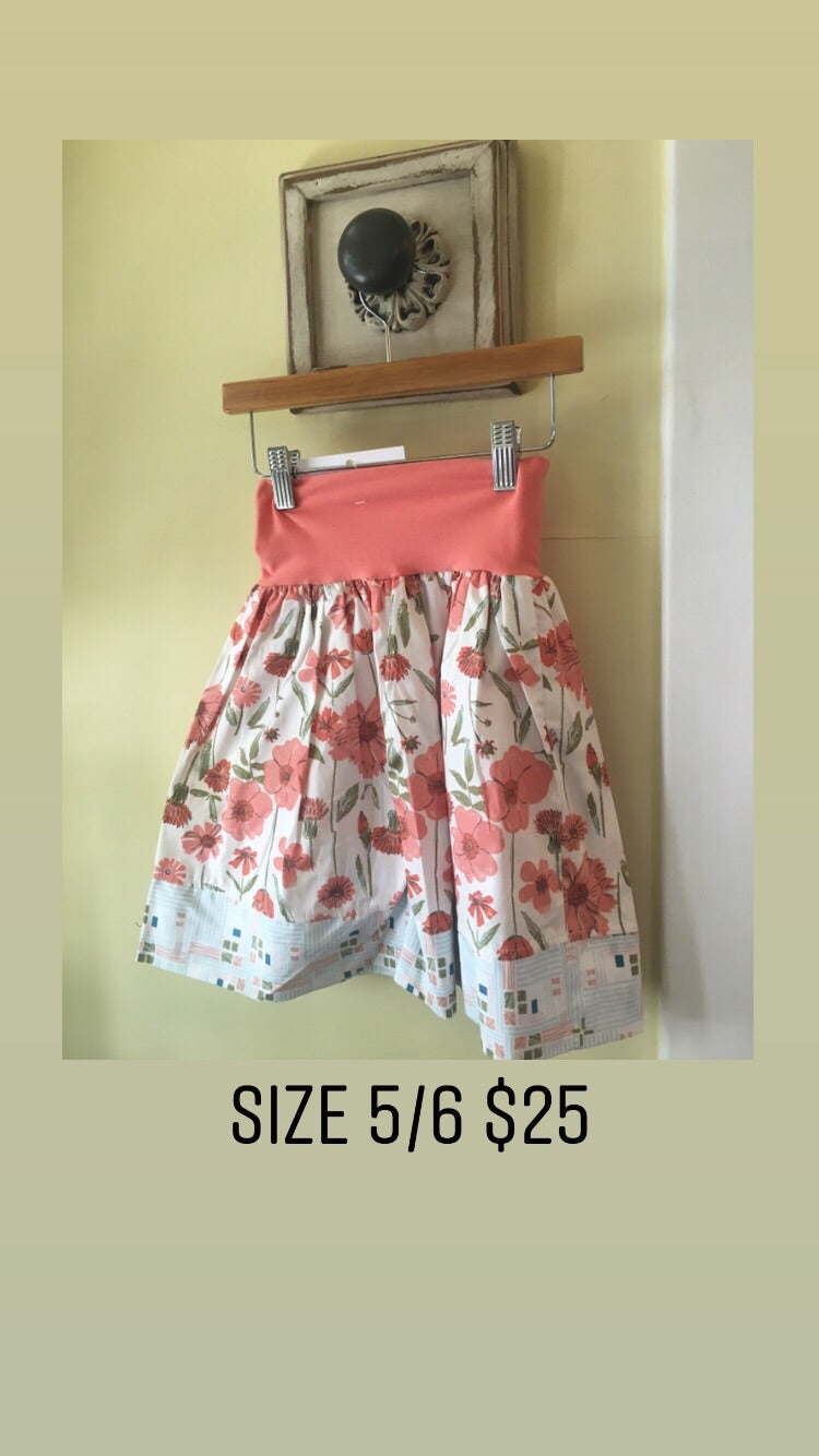 Girl handmade peach floral skirt 5/6