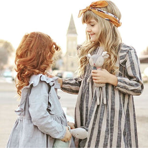 Girl handmade Linen stripe dress