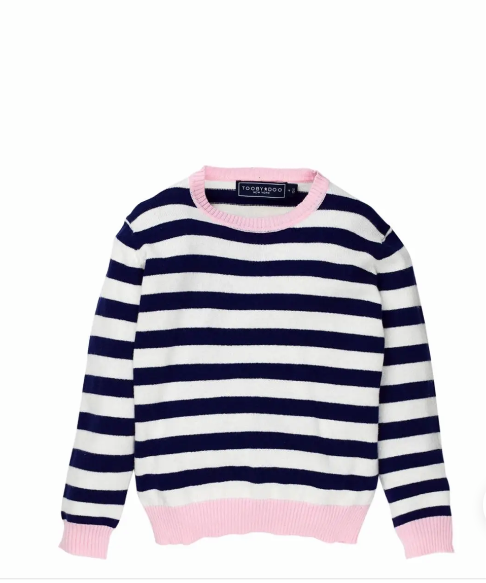 Girl cashmere blue pink striped sweater