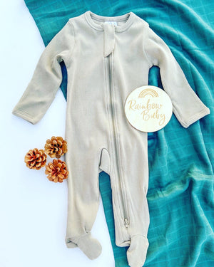 Baby off white sleeper romper