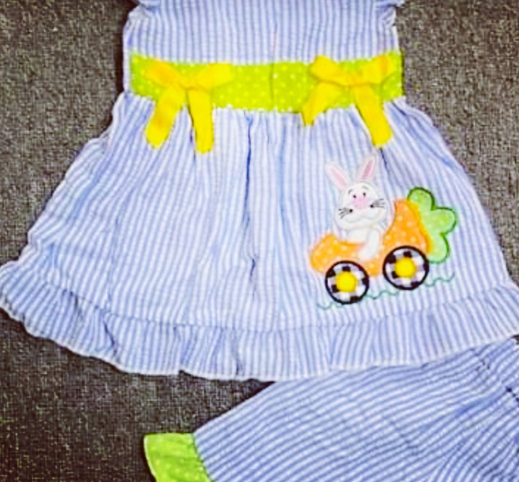 Girl blue seersucker Easter bunny set