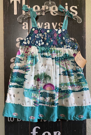 Handmade toddler dress aqua town flower print