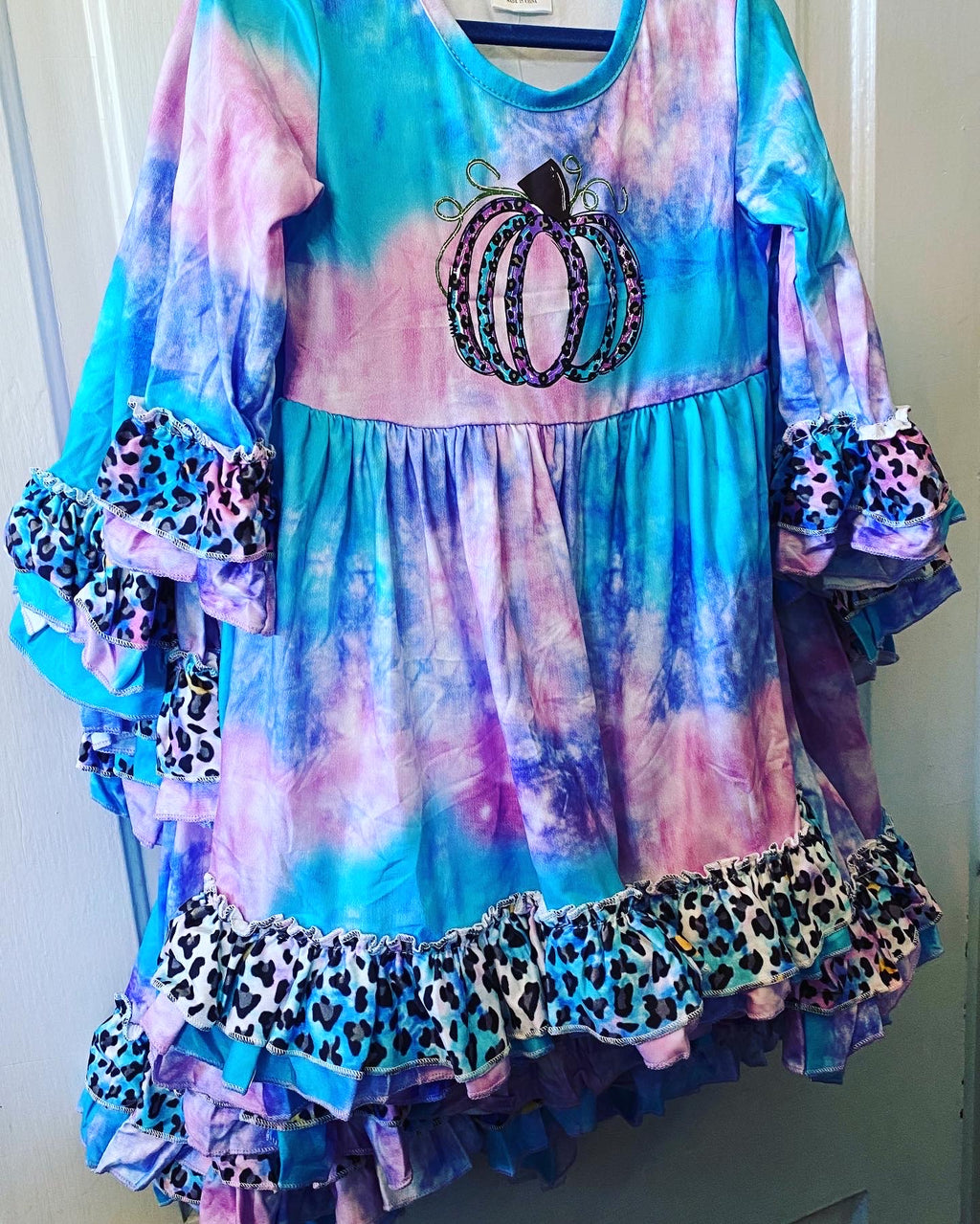 Girl pumpkin tie dye dress leopard ruffles