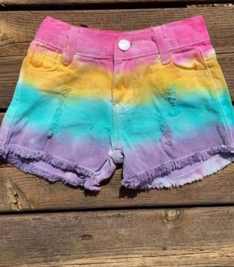 Girl pastel multi denim short