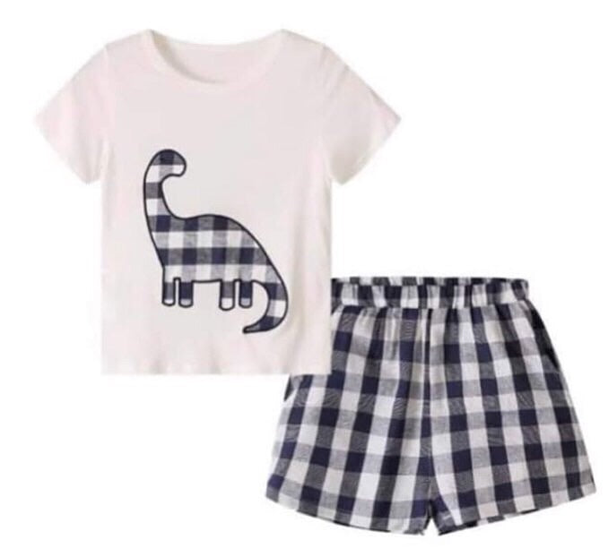 Baby boy dinosaur navy plaid short set