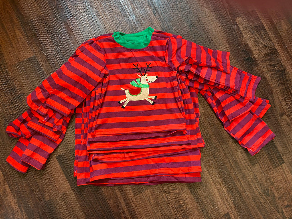 Boy reindeer striped holiday Christmas shirt