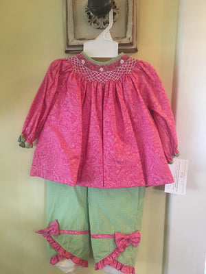 Hot pink and green pant set smocked