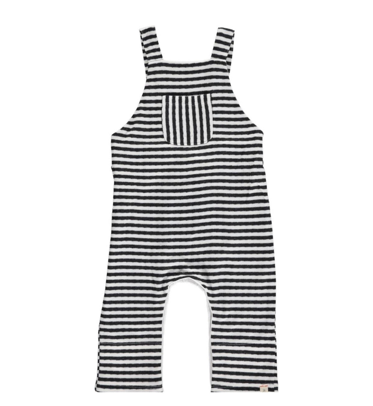Baby boy stripe jersey overalls - brown or black stripe