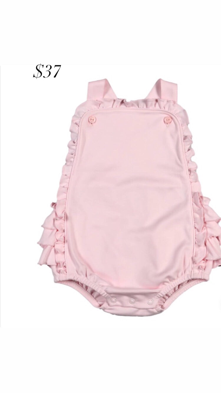 Baby girl pink ruffle bubble romper