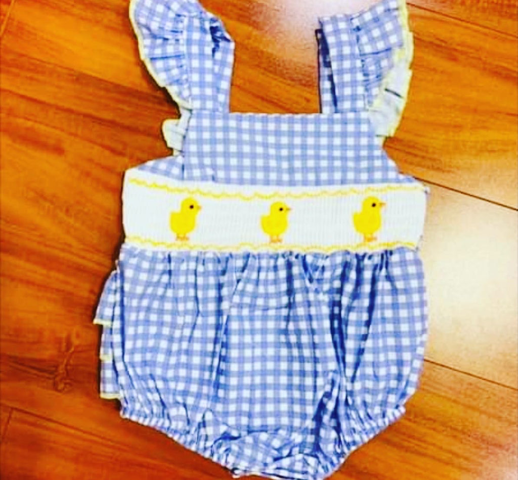 Baby girl gingham blue check smocked chick romper