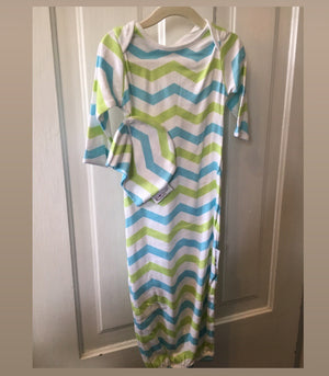Baby Boy chevron green blue print gown and hat