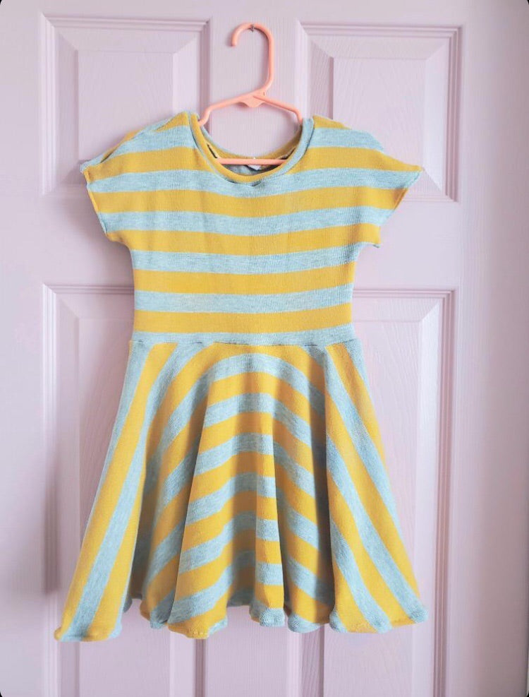 Handmade Girl striped grey and yellow dress