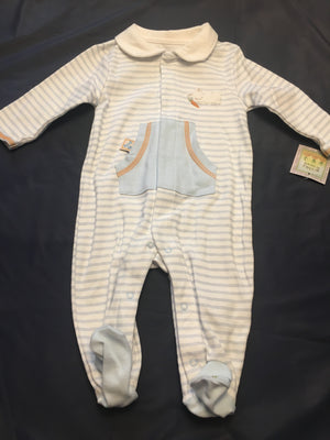 Baby Boy blue striped sleeper 3/6