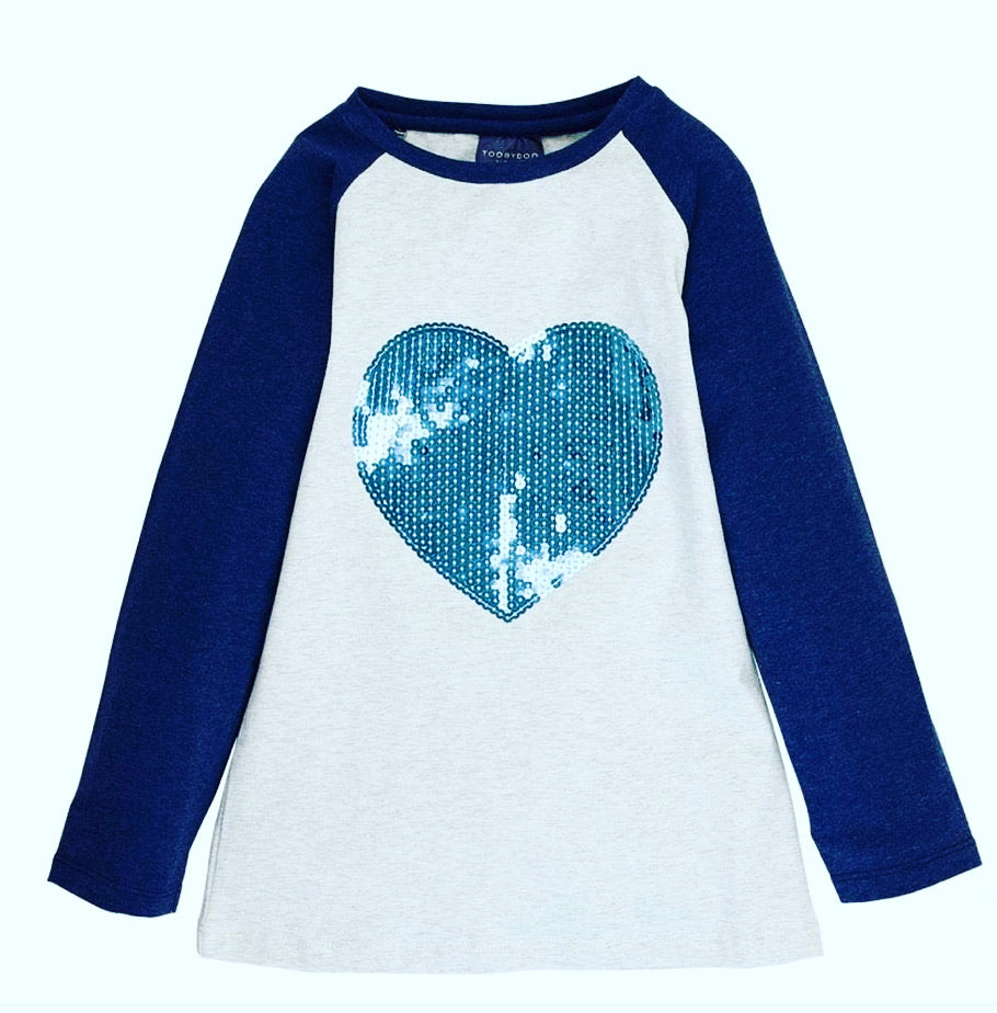 Girl sequin heart baseball shirt