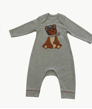 Baby boy bear appliqué romper
