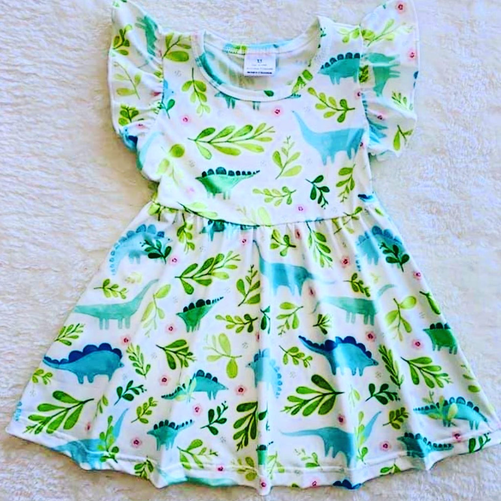 Girl Green dinosaur dress