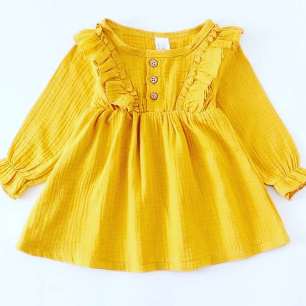 Toddler girl mustard ruffle dress