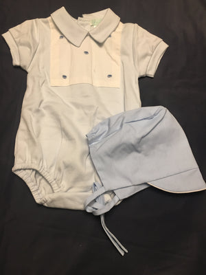 Baby boy NB romper and bonnet in blue