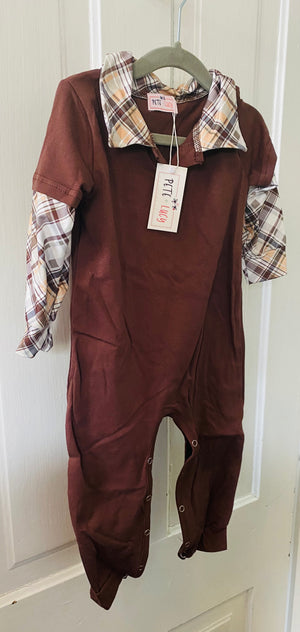 Baby boy brown plaid romper