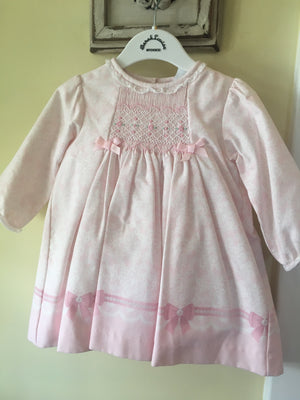 Baby girl smocked dress in pink 12m