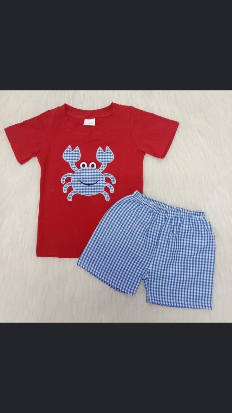 Boy blue gingham crab short set