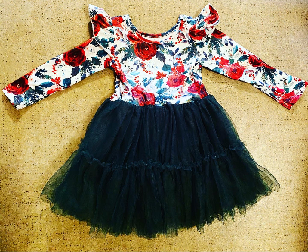 Girl red and green rose floral tulle dress