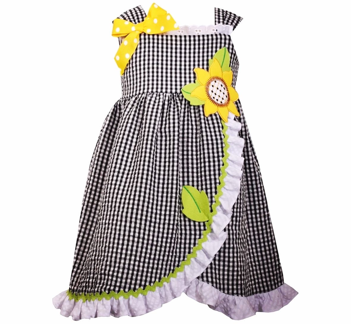 Girl gingham sunflower dress