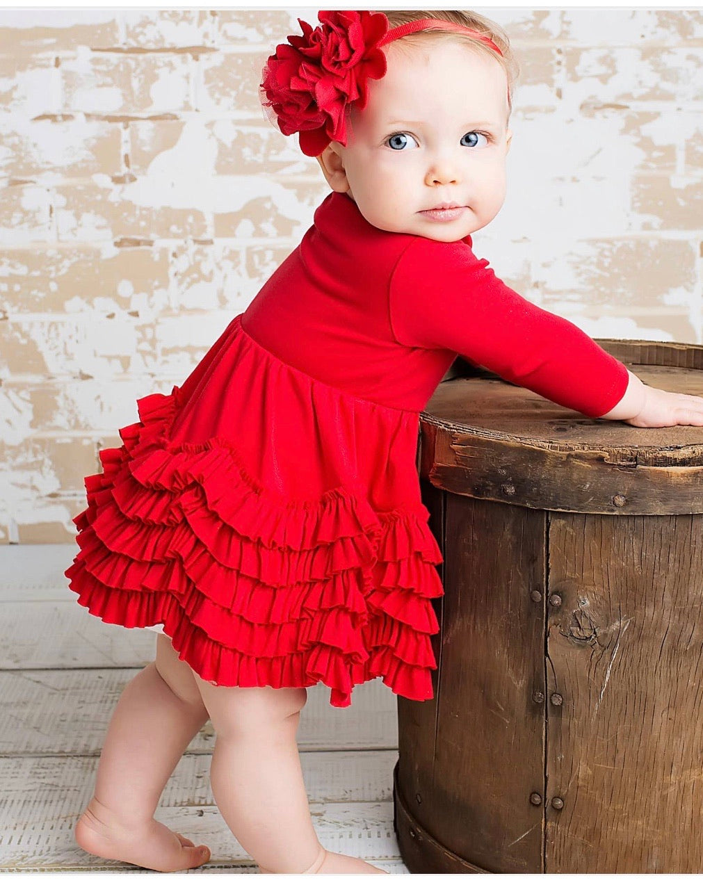 Baby girl red ruffle dress
