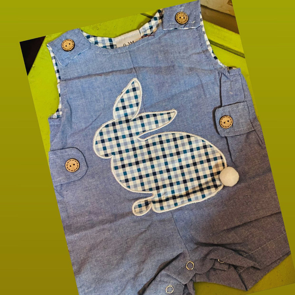 Baby boy plaid bunny romper