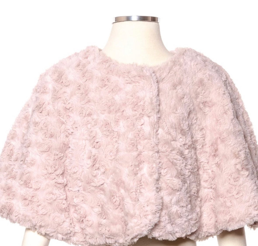 Girl pink rosette cape coat