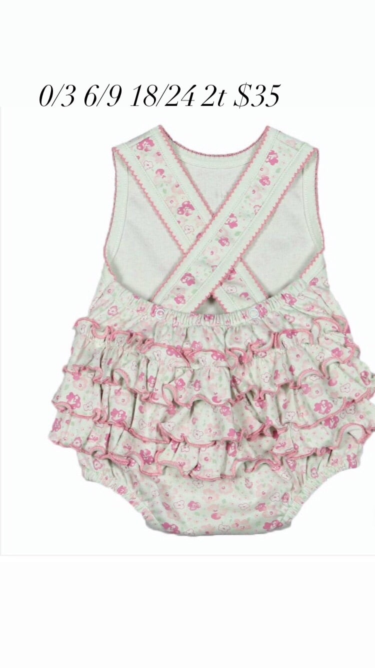 Baby girl floral ruffle bubble romper