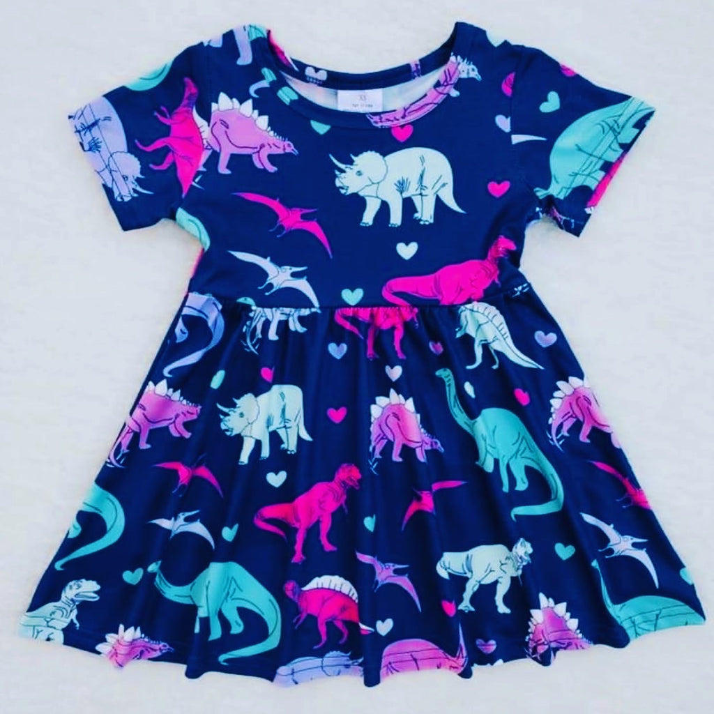 Girl Blue dinosaur dress