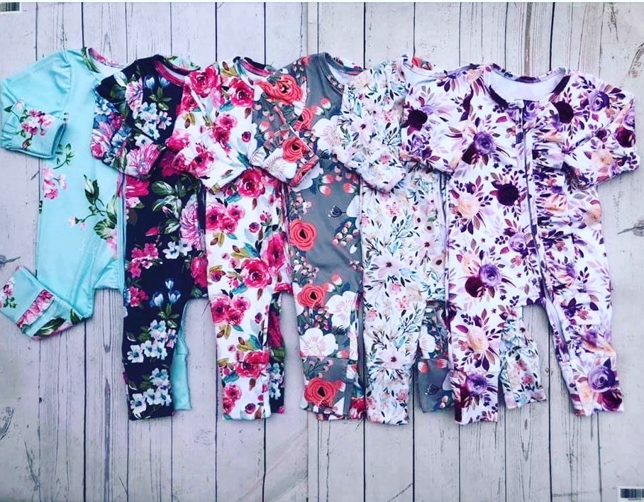 Baby girl zip sleeper romper floral