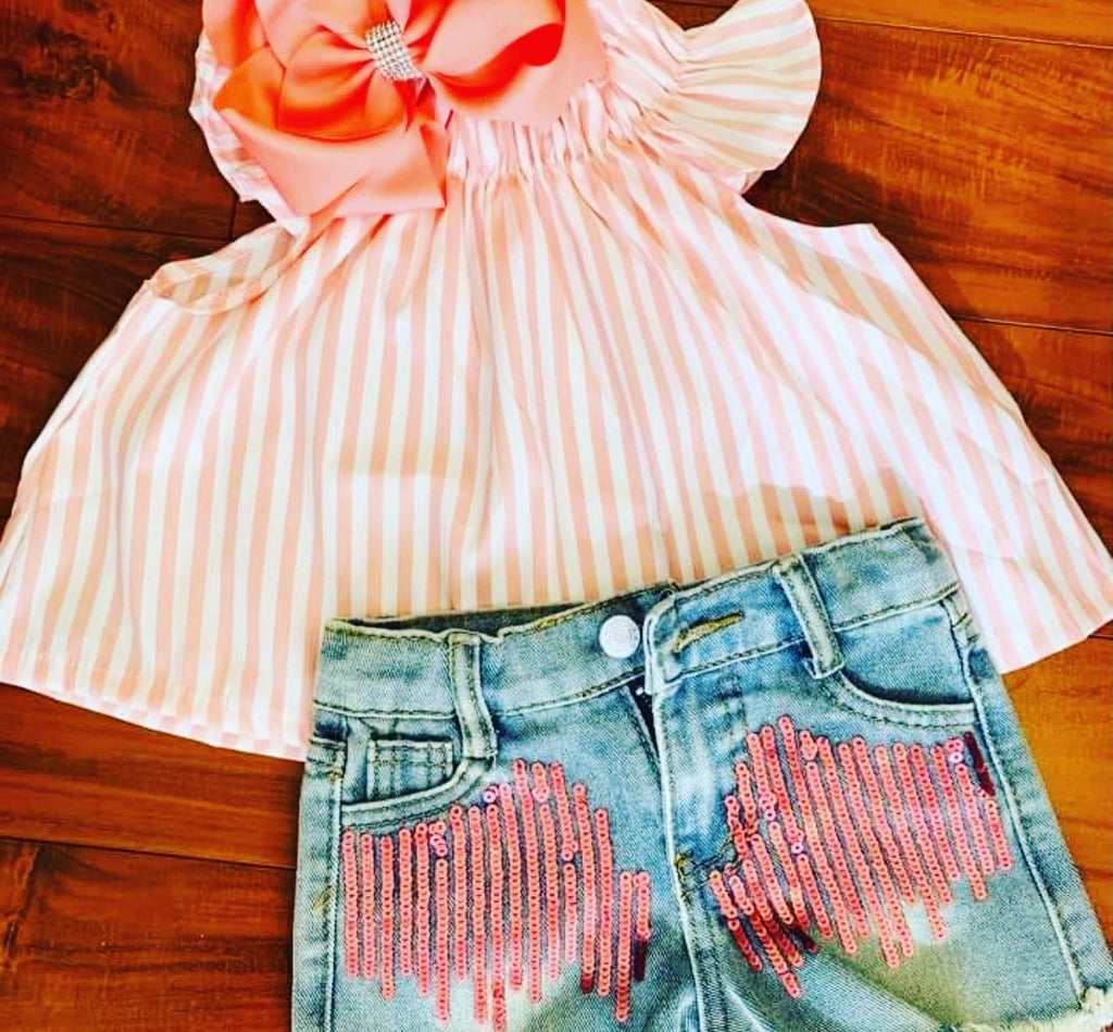 Girl sequin denim short set stripe top peach