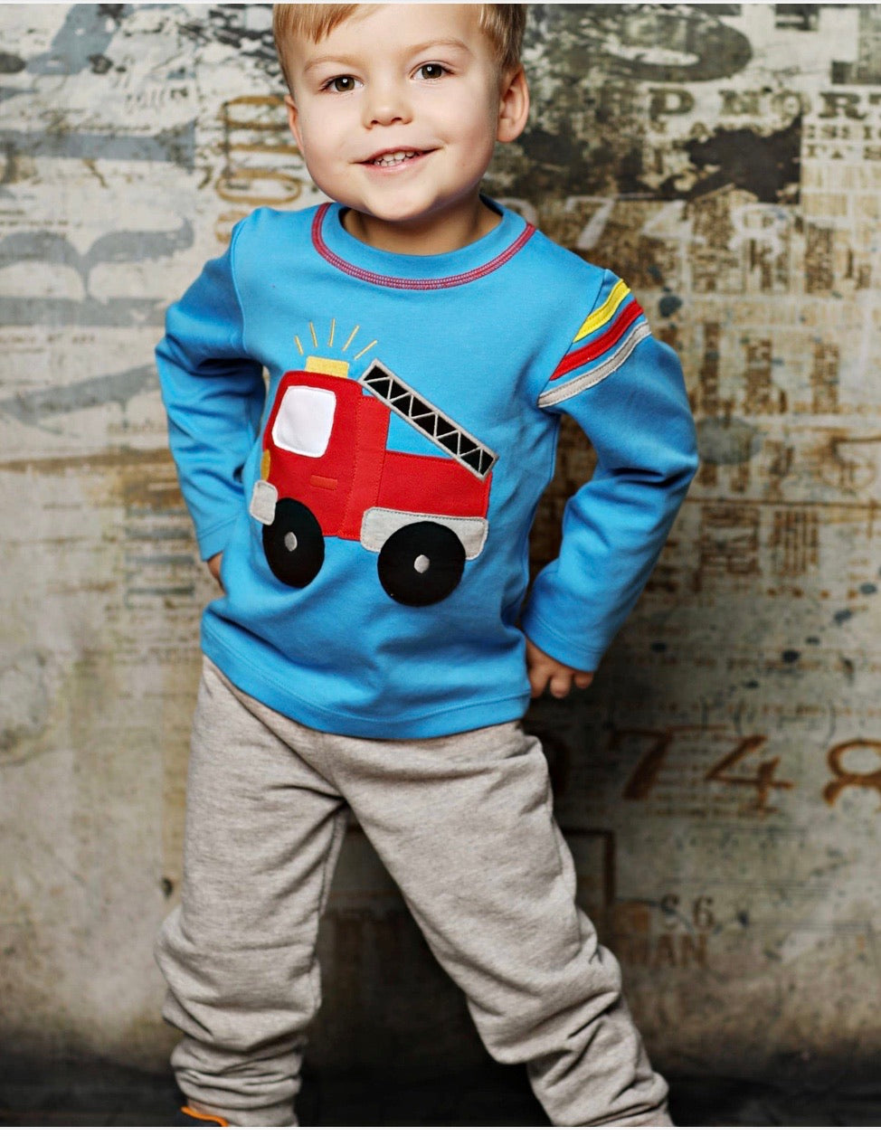 Boy fire truck shirt