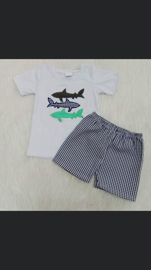 Boy blue gingham shark short set