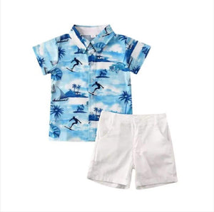 Boy blue surf short set