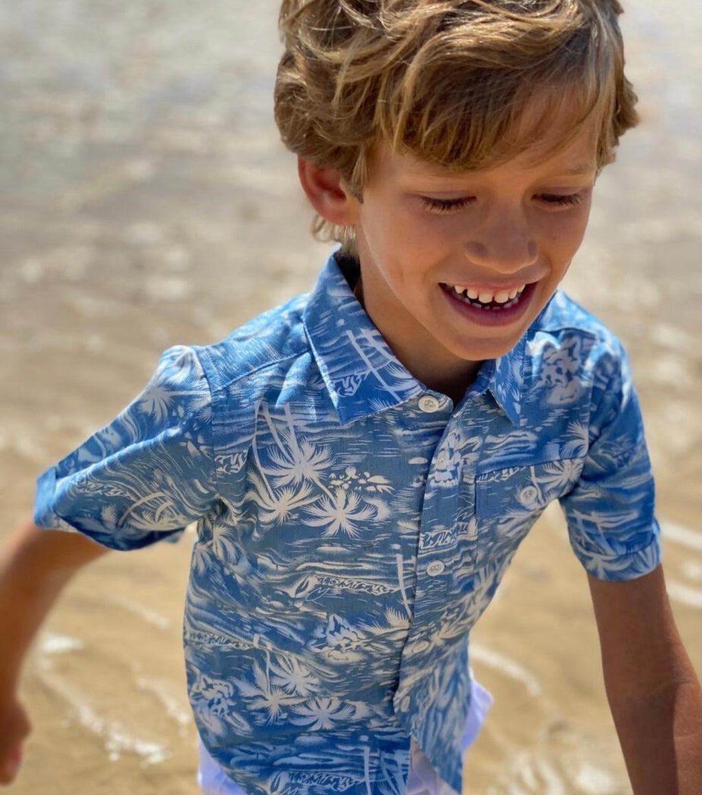 Boy chambray surfer shirt