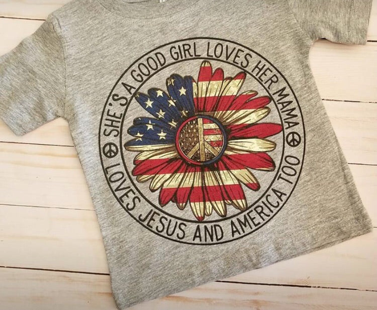 Girl red white and blue sunflower tee Fourth of July