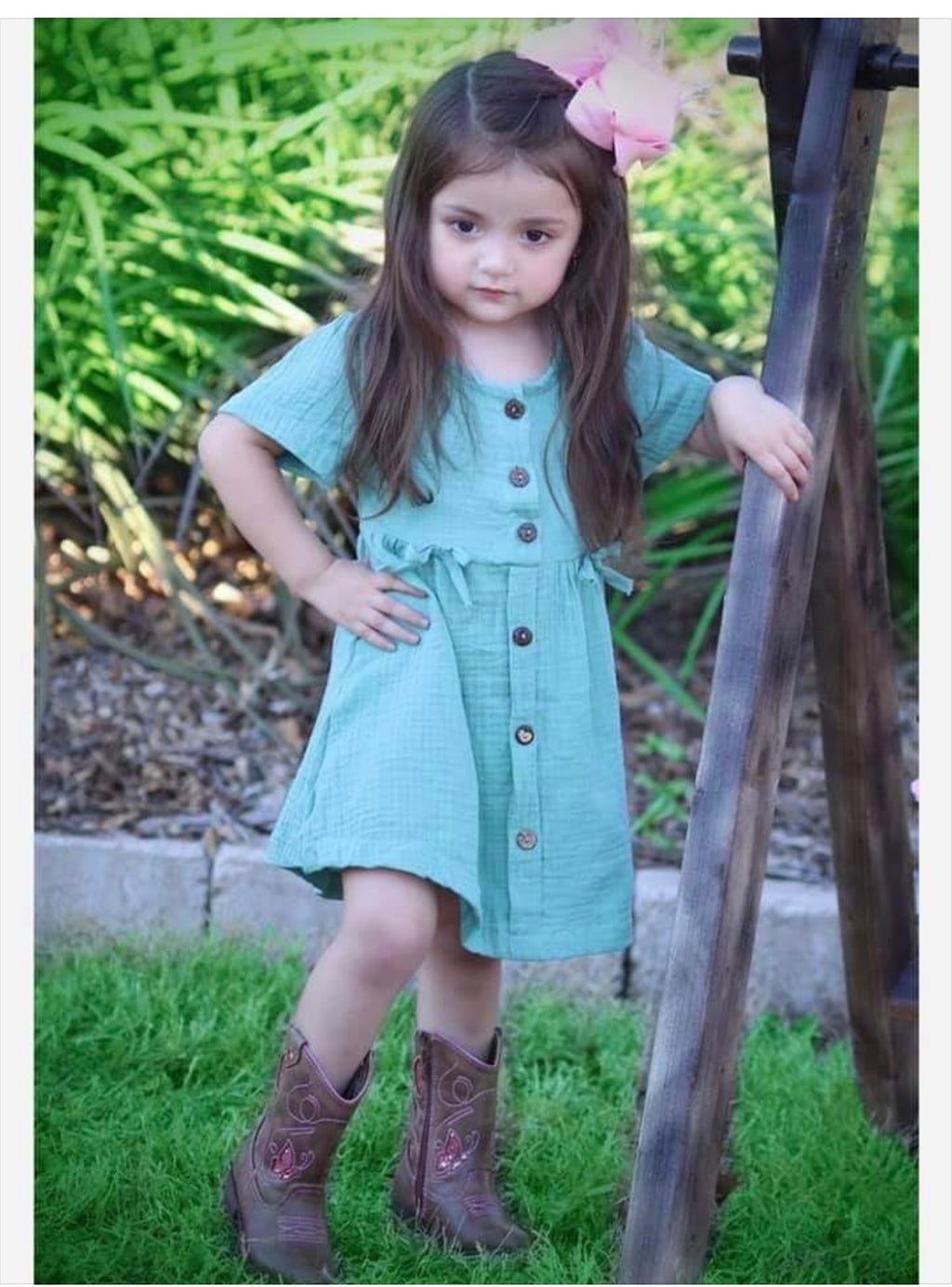 Girl baby toddler green gauze dress