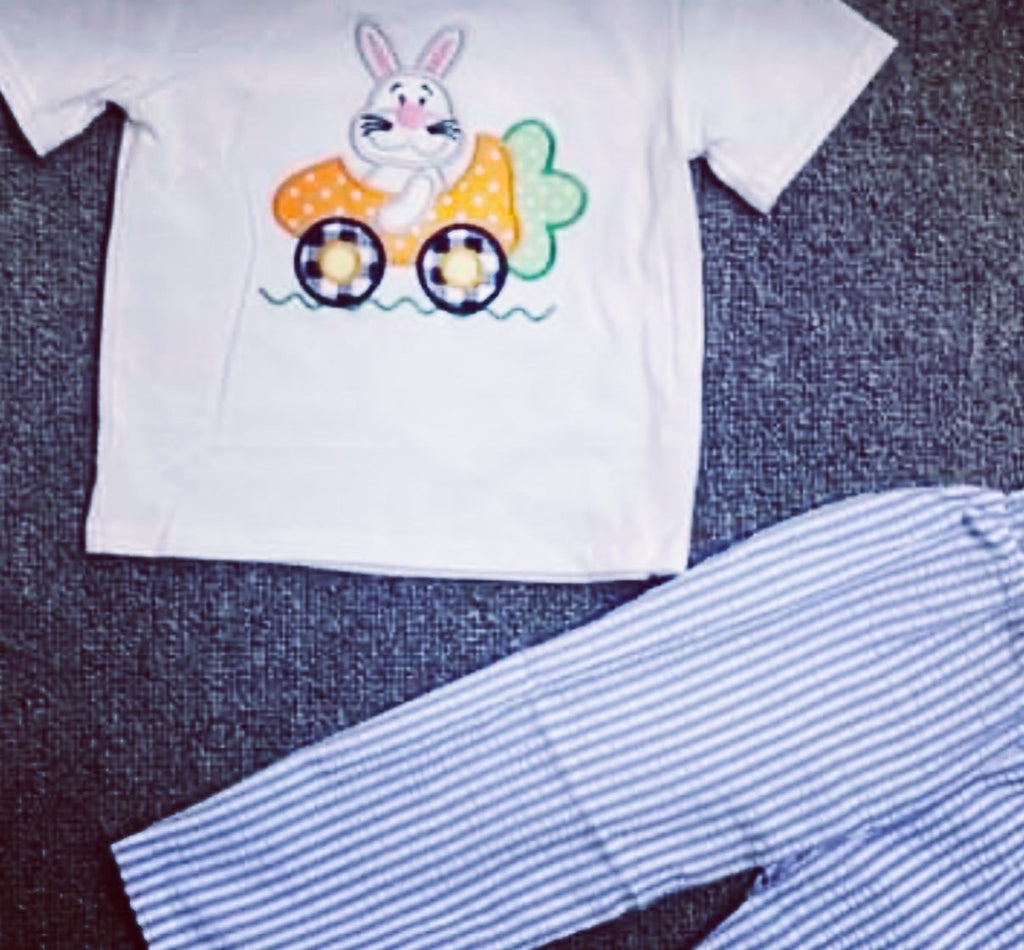 Boy Easter bunny seersucker pant set