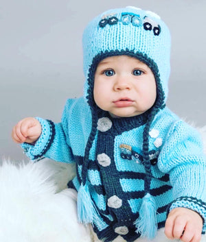 Boy train sweater, matching hat