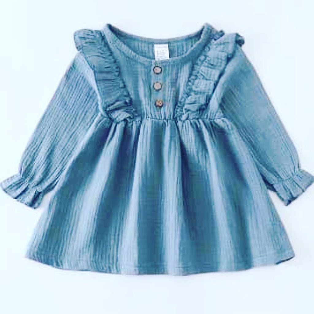 Toddler girl dusty blue ruffle dress