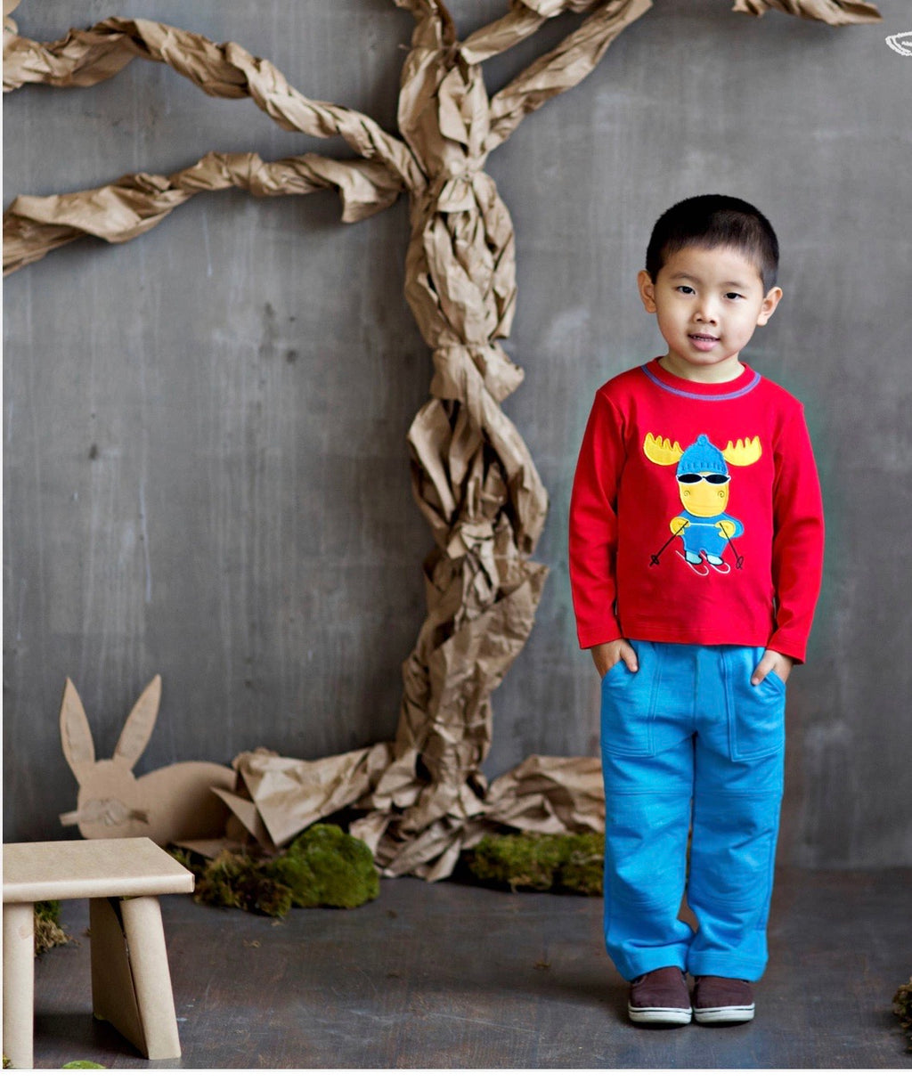 Boy skiing moose shirt