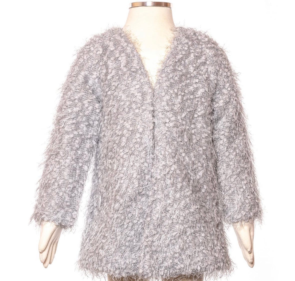 Girl silver shaggy coat