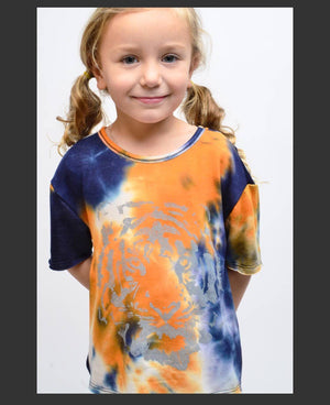 Girl tiger tie dye orange navy shirt