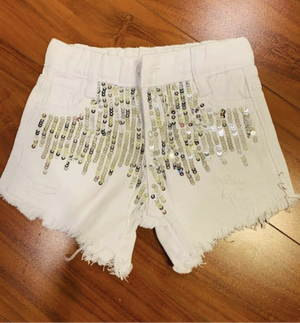 Girl baby girl white sequin distressed shorts