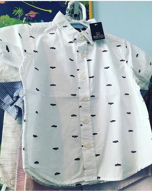 Boy sneaker print button down shirt